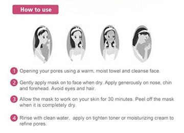 Mousand Blackhead Remover Maske, Peel Off Black Maske, Clear Pores & Akne, Aktivkohle Cleansing Removal Streifen Maske - 6